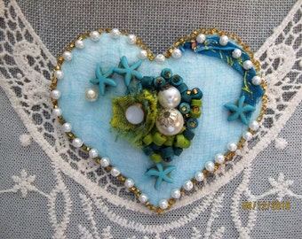 Hand made Heart Brooch