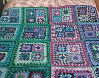 """Retro Granny Squares Blanket Afghan 70"""" x 70"""" In Stock"""