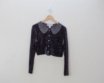 90s Black VELVET Sheer Embroidered Floral Collar Crop Top