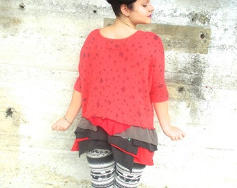 Upcycled Sweater Recycled Clothes Women Clothing Recycled Top Bustle Top Redesigned Women Top Red Hearts Shirt Eco Friendly S M Long Sleeve