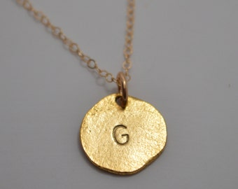 Gold Monogram Initial Necklace, Gold Initial Necklace, Small Stamped Necklace, Gold Letter Necklace, Keenan