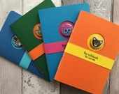 Notebooks - four handstitched and trimmed colourful A6 cat journals, cahier, unlined, unique design with removable badges