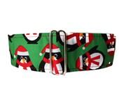 Christmas Martingale Collar, Penguin Martingale Collar, Martingale Collar Greyhound, Christmas Dog Collar, Penguin Dog Collar