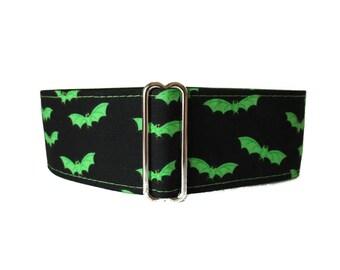 Halloween Martingale Collar, 2 Inch Martingale Collar, Lime Green Martingale Collar, Bats, Greyhound Collar, Halloween Dog Collar