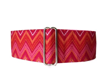 Pink Martingale Dog Collar, 2 Inch Martingale Collar, Chevron Martingale Collar, Chevron Dog Collar, Sighthound Collar