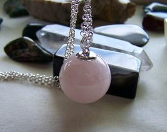 Rose Quartz Gemstone Crystal Ball Pendant