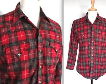 Vintage 1950s Shirt // 50s Men's Red and Grey Tartan Plaid Wool Western Shirt // Ranch Wear // DIVINE