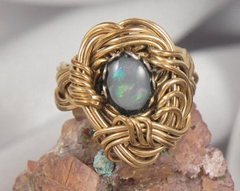 Opal and Gold Filled Hand Wired Ring