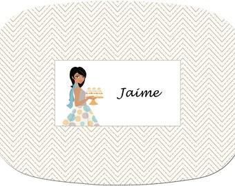Personalized Monogramed Platter beige zig zag Chevron design as shown Or Design Your Own Melamine Platter
