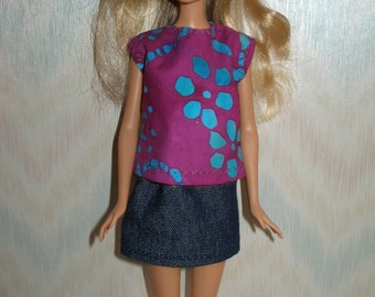 "Handmade 11.5"" fashion doll clothes - purple and blue print top and denim skirt"