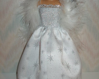 Handmade doll clothes- fits Lammily - silver and white satin gown with boa