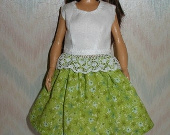 Handmade clothes for doll such as Lammily- white top and green print skirt