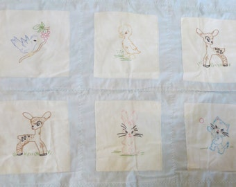 Vintage Embroidered Baby Quilt with Animals