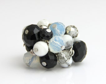Classic Black Crystal White Stone Adjustable Cluster Ring - Faceted Black Onyx White Agate Crystal Stone Silver Big Cocktail