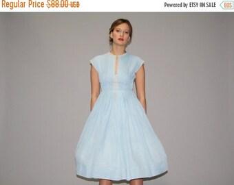 ON SALE 65% ends May 1st Vintage 1950s Pastel Blue Cotton Day Dress  - Vintage  50s Pastel Blue Dress - Vintage 50s Cotton Dresses  - WD0667