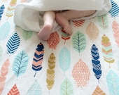 Feather Baby Bedding - Plume Fitted Crib Sheets / Boho Changing Pad Covers or Standard and Mini Crib Sheets / Etsy Nursery Bedding