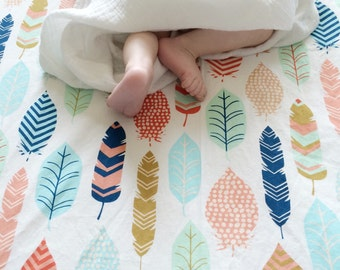 Feather Crib Sheet- Neutral Baby Bedding /Fitted Crib Sheets / Boho Changing Pad Covers / Mini Crib Sheets / Etsy Nursery Bedding