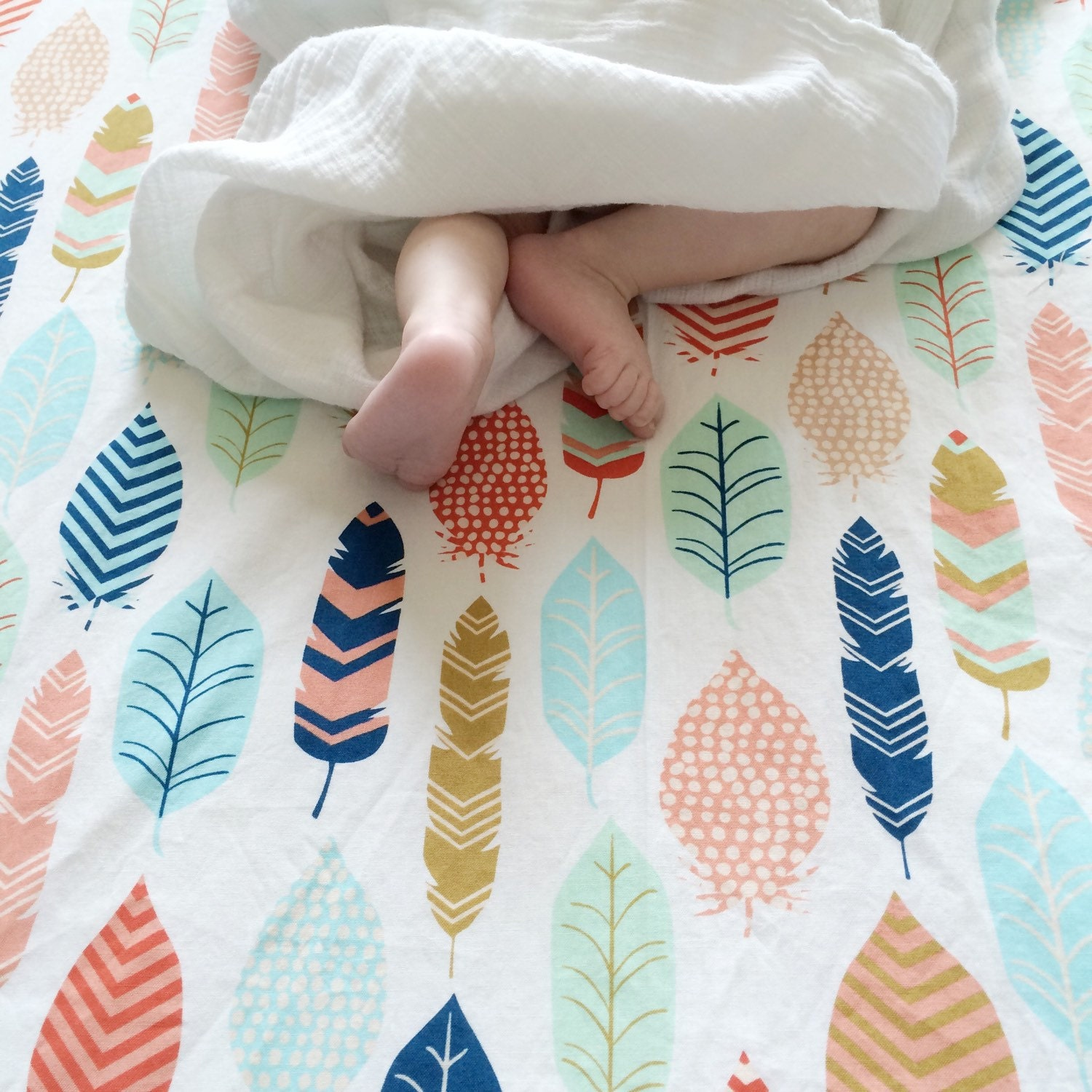 Feather Crib Sheet Neutral Baby Bedding Fitted Crib Sheets