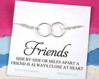 Best Friends Bracelet with note card,Karma charm bracelet,Circle charm Bracelet,Eternity love circle,Sisterhood,,Bridesmaid gifts