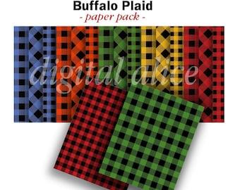 CHRISTMAS BUFFALO PLAID Papers  - Buffalo Checks and Xmas Plaids - Digital Paper Pack -15  Plaid Printable Papers,Instant Download Digital
