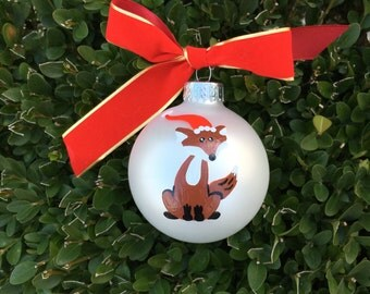 Fox Ornament, Santa Fox Christmas Ornament, FREE Personalizing, Hand Painted Baby's First Christmas, Woodland Animal, Christmas Fox,