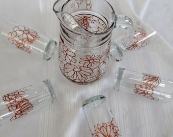 Sangria Lemonade Pitcher With Six Glasses Set Hand Painted Copper Flowers