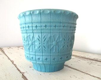 Vintage Plastic Turquoise Planter