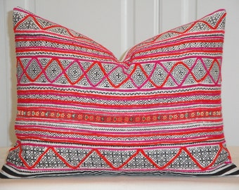 Hmong Pillow Cover - Vintage Tribal Decorative Pillow Cover -  Pink Orange Embroidery Zig Zag Striped Accent Pillow - Toss Pillow