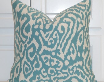 DOUBLE SIDED or Front Only - Decorative Pillow Cover - IKAT Animal Print - Blue Turquoise - Sofa Pillow - Cushion Cover