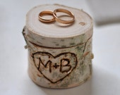 personalized birch box  • birch wood  • ring bearer pillow  •  ring box for wedding decor