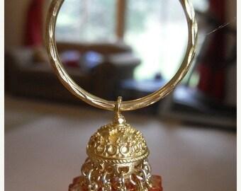 ON SALE Jaipur jhumkas -  Gold Vermeil Hoop Jhumkas with Apricot color Swarovski Crystals -J84