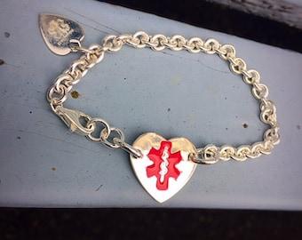 Thick Sterling Silver Medical Alert Bracelet - optional enamel colors