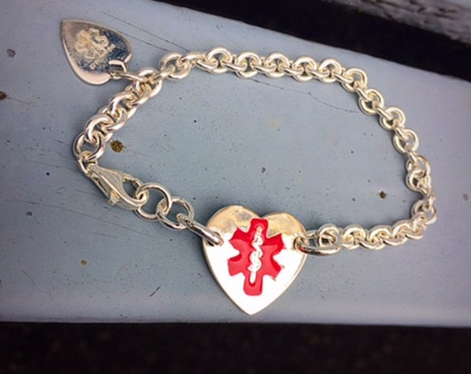 Thick Sterling Silver Medical Alert Bracelet - optional enamel colors