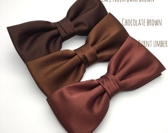 Mens Bow Tie Chocolate Brown Umber Bow tie Satin Plain Solid BowTie for Wedding Groom Groomsmen Men Boy Kid Baby Shower Bow tie Gift for him