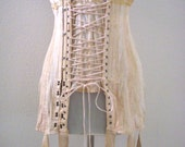 Vintage Double Boned Corset - Ivory Early 1900s Lace Up Corset by Warners - Bombshell Pin Up Antique Corset - WITH ISSUES