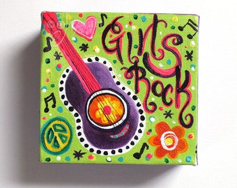 Girls Rock -  Mini Music Painting, The Daily Doodle 7/19/16, 4x4 acrylic Mini Painting