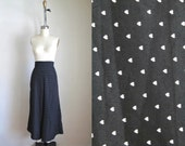 vintage novelty print pants - ITTY BITTY HEARTS wide leg culotte / M