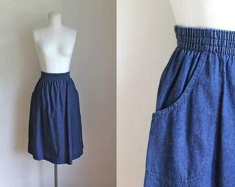 vintage denim skirt - INDIGO blue cotton jean skirt / M-L