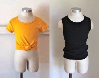40% OFF back2school SALE vintage lot of 2 child's T-shirts - Bumble Bee yellow & black tees /9-10yr