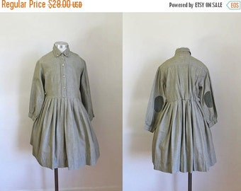40% OFF back2school SALE vintage 1950s little girl's dress - OLIVE shirtwaist dress with elbow patch / 10-11yr