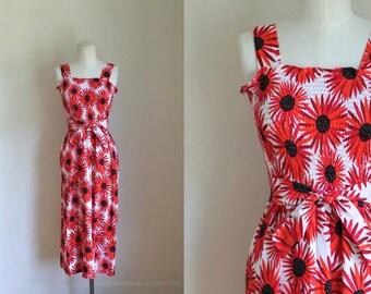 50% OFF...last call // vintage floral sundress - GERBERA daisy print smocked dress / XS-M