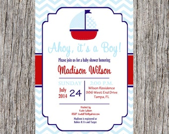 Nautical Baby Shower Invitation, baby boy nautical sailboat shower, DIY, printable