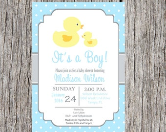 Duck Baby Shower Invitation, duck baby boy baby shower, ducks, ducky shower, custom and printable