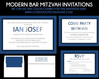 Modern Bar Mitzvah Invitations - RSVP Reply Cards - Party Card - Save the Date - Thank You Notes - Envelope Addressing - Use for ANY EVENT