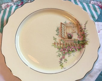 Vintage Luncheon Plate Breakfast Nook Lido Canarytone W S George Made in the USA #3761