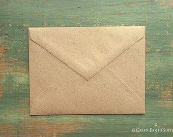 """100 A1 Pointed Flap Kraft Envelopes, 3 5/8"""" x 5 1/8"""" (92x130mm), grocery bag kraft brown envelopes, 4bar envelopes, RSVP triangular flap"""