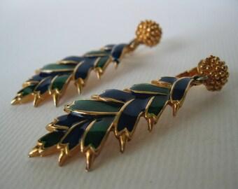 Vintage 1970 Blue and Green Enamel Clip Earrings
