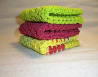 "Set of 3 Handmade Crochet Dish/Bath Cloths,Wash Cloths,Bath and Beauty,Home and Living-7' x 7"" 100% Cotton-Ready To Ship"