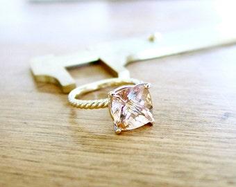Cushion Peach Morganite Engagement Set Certified Stone