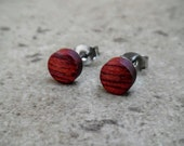 "Tiny Wood Stud Earring, Bloodwood Wood Stud Earring, Natural Wood Earring, Surgical steel, Sterling Silver Post, 1/4""(6mm) - 442"